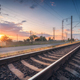 Railroad and beautiful sky at sunset in summer. Industrial - PhotoDune Item for Sale