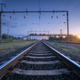 Summer rural industrial landscape with railway station at sunset - PhotoDune Item for Sale