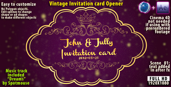 Vintage invitation card by spotmouse videohive play preview video stopboris Choice Image