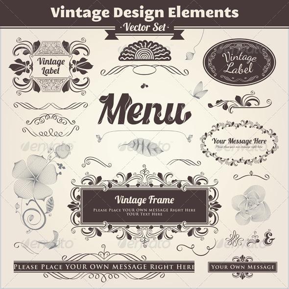 Vintage Calligraphic Design Elements - Decorative Symbols Decorative