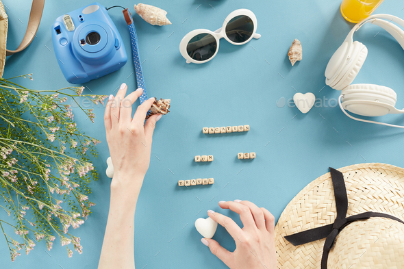 Making knolling composition for vacation - Stock Photo - Images