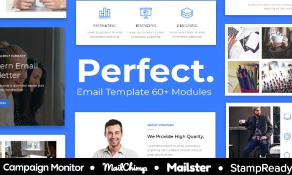 Perfect - Agency Responsive Email Template 30+ Modules - StampReady + Mailster & Mailchimp Editor