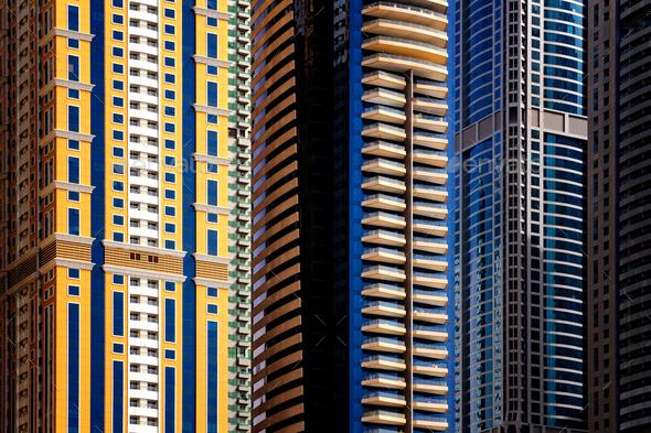 Detail of world tallest residential buildings. Dubai marina, United Arab Emirates. - Stock Photo - Images