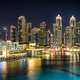 Downtown area during calm night with colorful neons. Dubai, United Arab Emirates. - PhotoDune Item for Sale