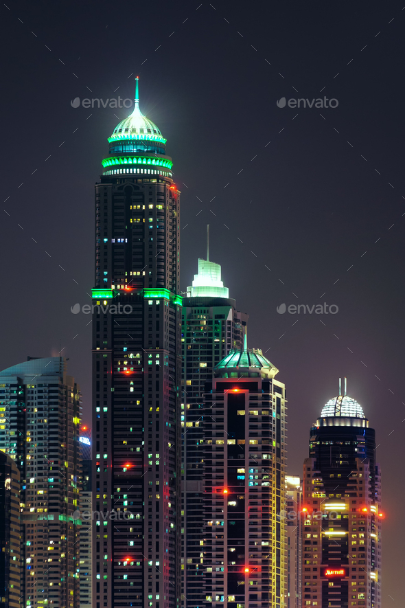 Majestic colorful dubai marina skyline during night. Dubai marina, United Arab Emirates. - Stock Photo - Images