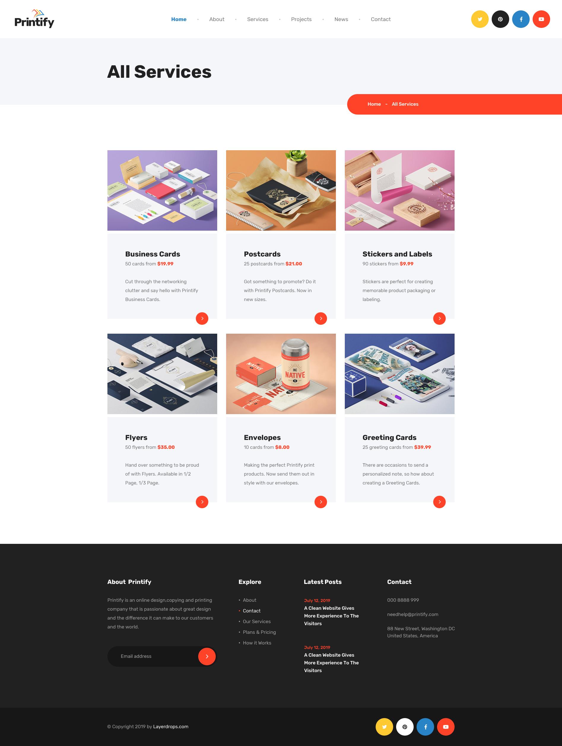 Printify - Attention Grabbing Printing Company PSD Template