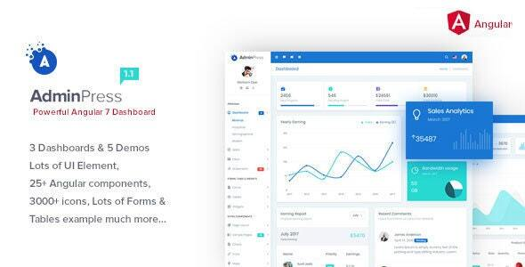 Admin Press Angular 8 Bootstrap Dashboard Template by MARUTI