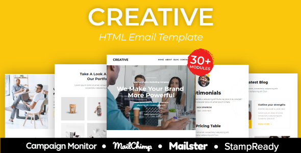 Creative Agency - Multipurpose Responsive Email Template 30+ Modules - Mailster & Mailchimp