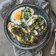 Healthy trendy breakfast with avocado toast, fried egg and salad - PhotoDune Item for Sale