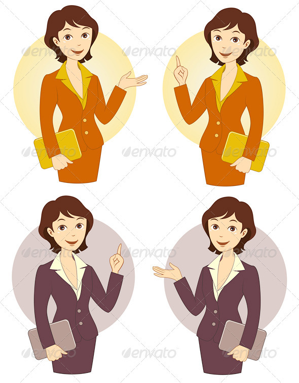Download Cartoon Businesswoman Set AI EPS Vector