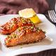 Teriyaki salmon on the white plate - PhotoDune Item for Sale