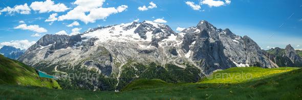Alpine Dolomites landscape, Italy - Stock Photo - Images