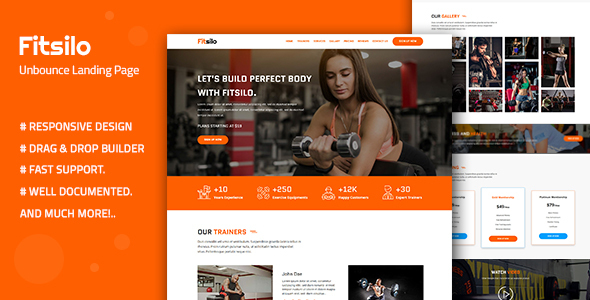 Fitsilo — Health & Fitness Unbounce Landing Page Template by Divine-Store