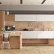 White and wooden modern kitchen with island - 3d rendering - PhotoDune Item for Sale