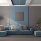 Minimalist blue and brown living room - PhotoDune Item for Sale