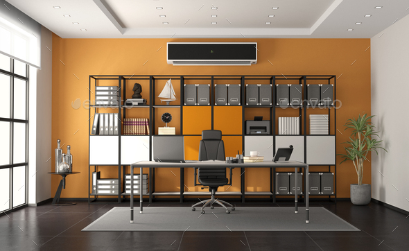 Gray and orange modern office with minimalist desk and large bookcase on background - 3d rendering