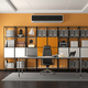 Gray and orange modern office with minimalist desk and large bookcase on background - 3d rendering - PhotoDune Item for Sale