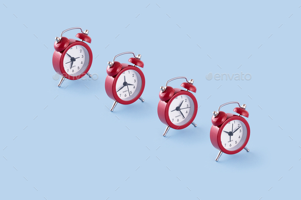 Classic red clocks - Stock Photo - Images
