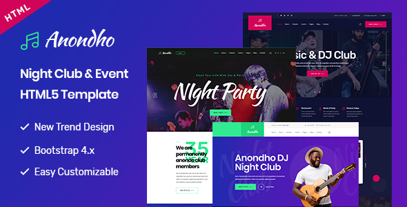 Anondho - Night Club & Event HTML5 Template by BDevs