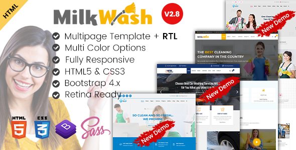 Excellent MilkWash - Cleaning Service Company HTML Templates
