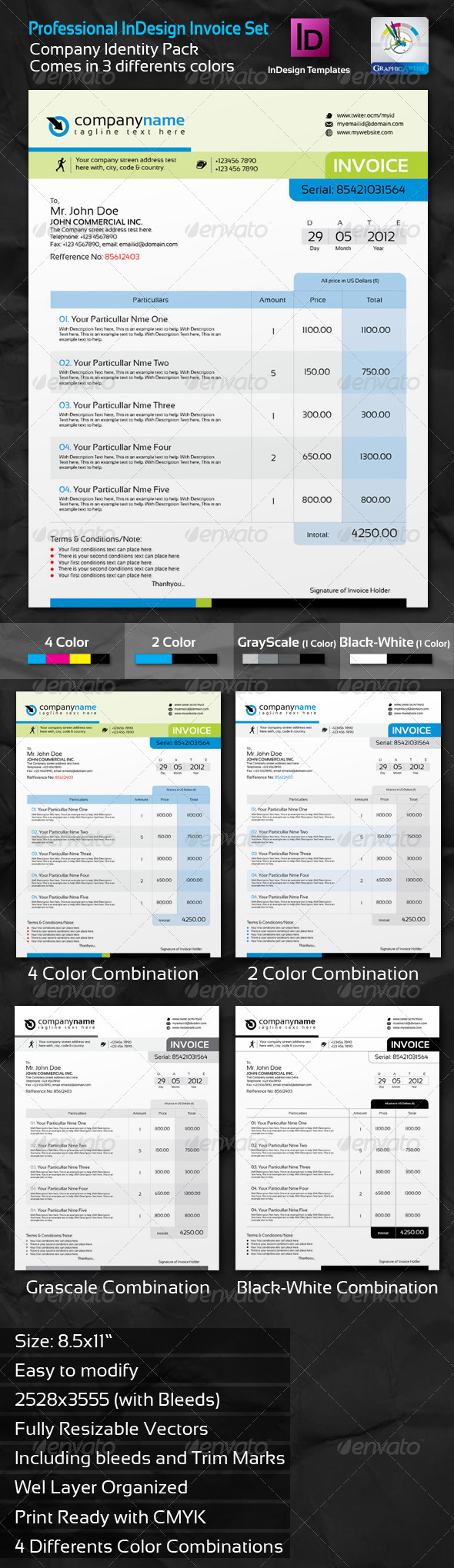 Professional invoice indesign template set by for T shirt printing business proposal letter
