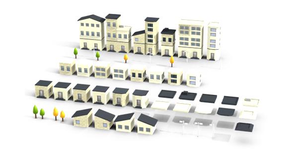3D Modular Buildings Set