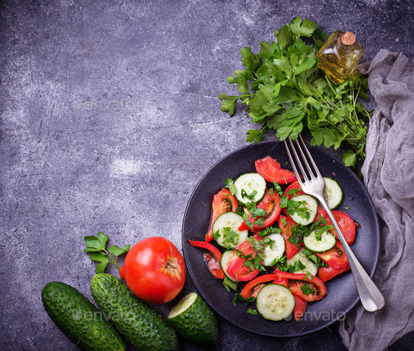 Vegetable salad with cucumber and tomato - Stock Photo - Images