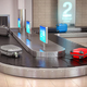 Suitcases on the airport luggage conveyor belt. Baggage claim. A - PhotoDune Item for Sale