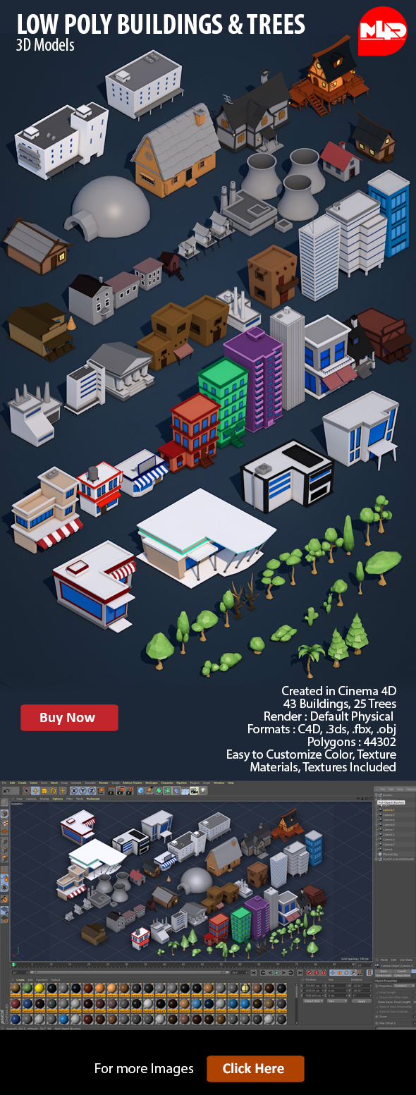Low Poly City Buildings & Trees