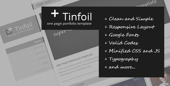 Tinfoil – Responsive One Page Portfolio Template