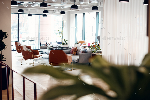 Empty Reception Area In Modern Open Plan Office - Stock Photo - Images
