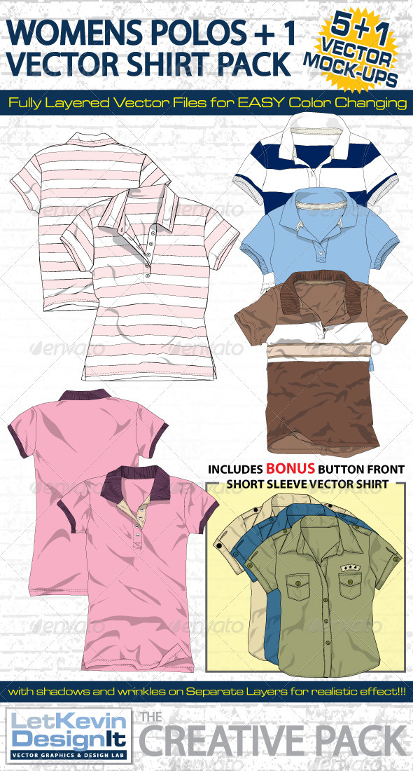 Womens Polo Vector Mock-Ups - Template - Retail Commercial / Shopping