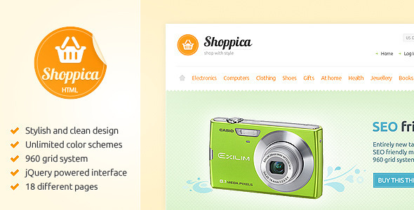 Shoppica - Premium HTML E-commerce Theme - Retail Site Templates