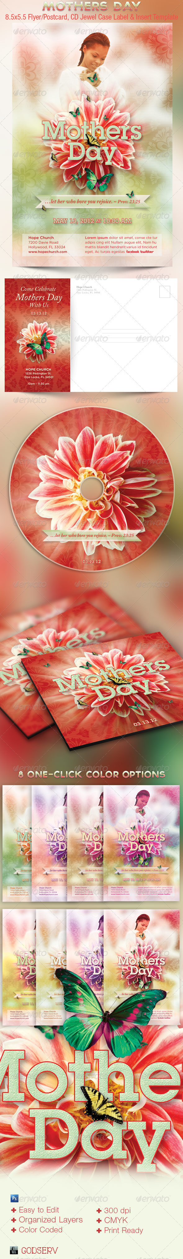Mothers Day Church Flyer CD Template - Church Flyers