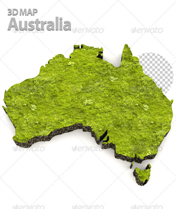 Australian Grass Map - Objects 3D Renders