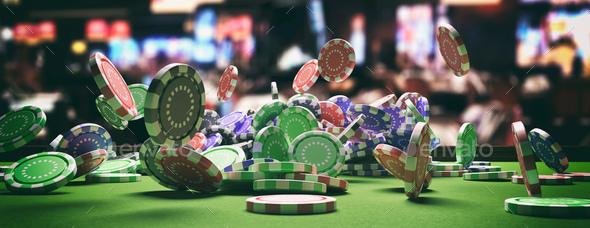 Poker chips falling on green felt roulette table, blur casino interior  background. 3d illustration Stock Photo by rawf8