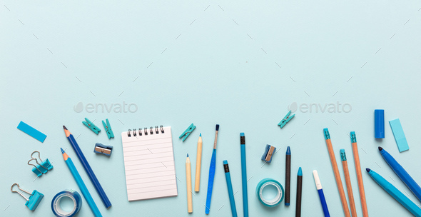 Flat lay of office, school stationery on blue background - Stock Photo - Images