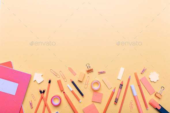 Flat lay of school stationery on orange color background - Stock Photo - Images