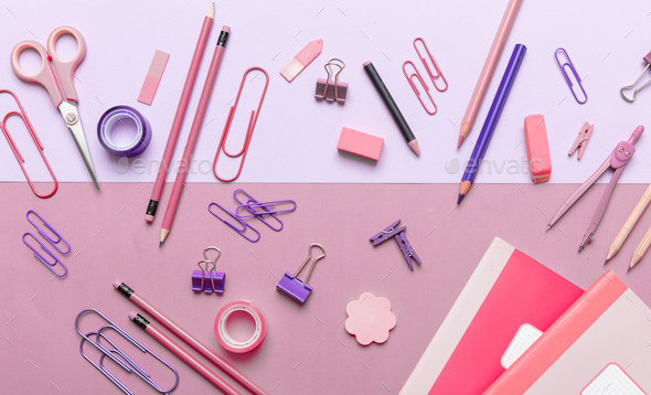 Flat lay of office, school stationery on pink background - Stock Photo - Images
