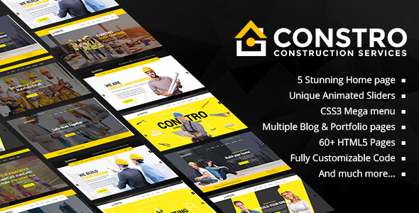 Constro - Construction Business HTML5 Template by Potenzaglobalsolutions