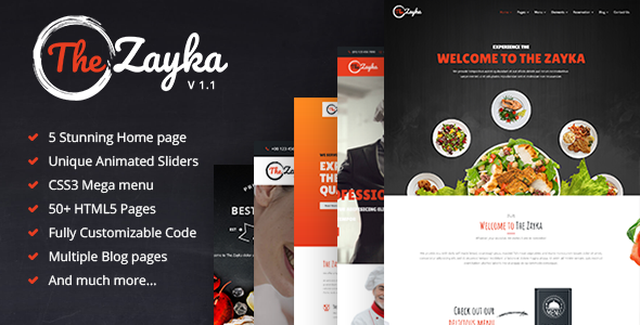 Beautiful The Zayka - Multipurpose Restaurant & Cafe HTML5 Template