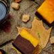 Pumpkin chocolate cake Brownie with glass of coffee - PhotoDune Item for Sale