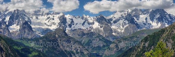 Panoramic view of Mont Blanc and other peaks from Aosta Valley, Italy - Stock Photo - Images
