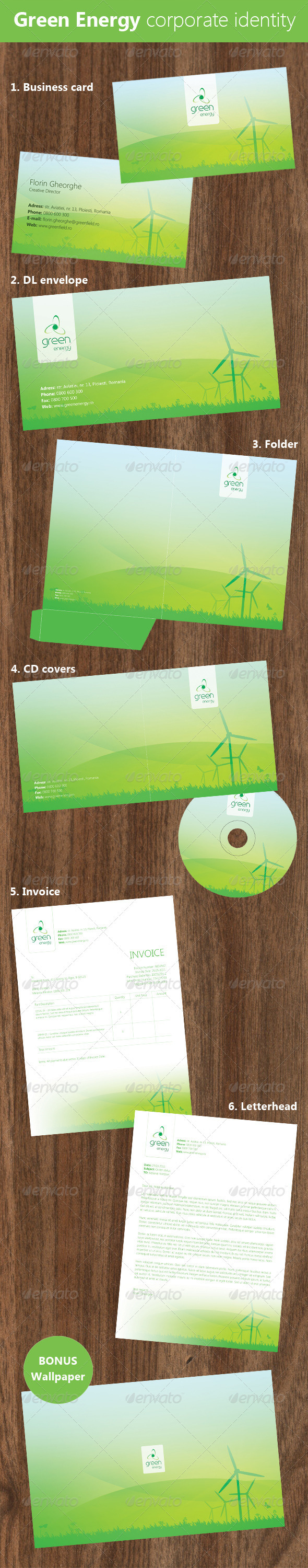 Green Energy Corporate Identity - Industry Specific Business Cards