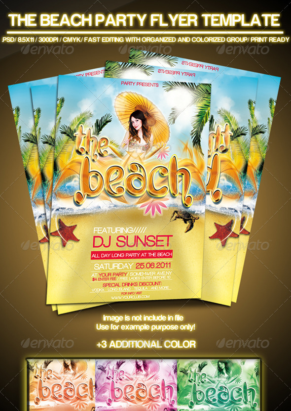 the beach summer party flyer