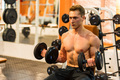 Attractive male athlete doing biceps exercise with dumbbells - PhotoDune Item for Sale