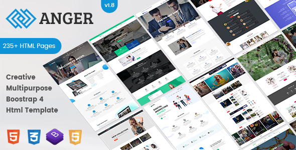 Anger Multipurpose - Creative Agency, Corporate and Portfolio Bootstrap 4 Multi-Purpose Template