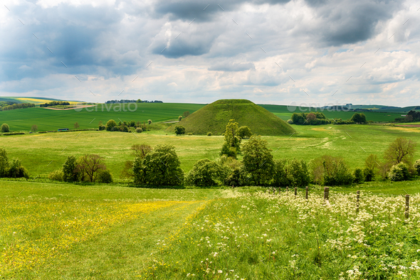 The mysterious Silbury Hill - Stock Photo - Images