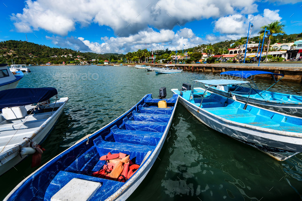 Fishing boats in Samana, Dominican Republic - Stock Photo - Images