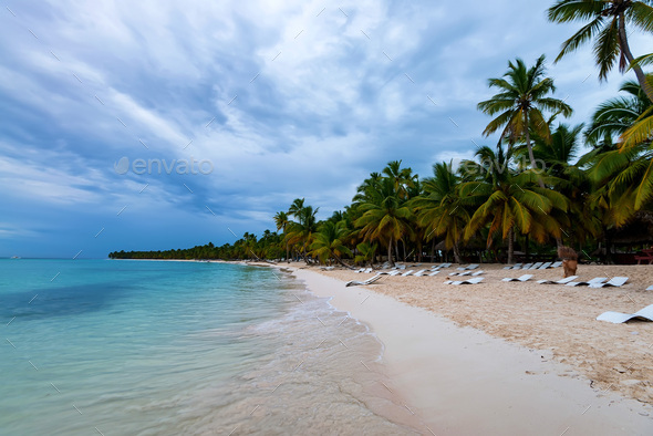 Ocean and tropical coastline in Dominican Republic - Stock Photo - Images